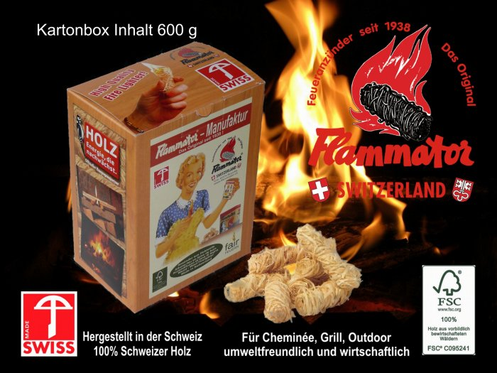 Produkte - Swissflame Schachtel a 600 gramm